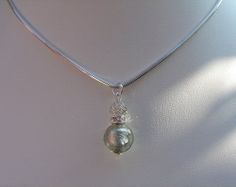 925 Silver necklace with Murano glass!