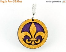 ON SALE Fleur De Lis Pendant, Wood and Purple Gold Vellum Paper Necklace on Silver Plated Chain