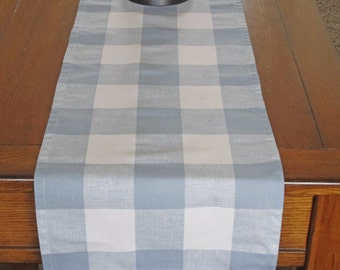 Blue Plaid Table Runner, Large Gingham Table Runner, Light Blue Table Runner,  Wedding