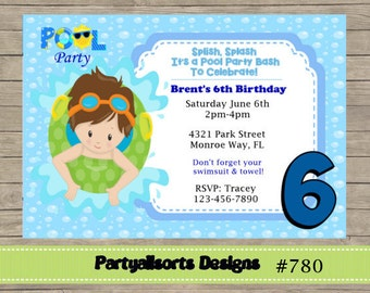 346 DIY - Pool Party Boys Invitations