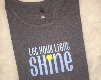 Let your light shine grey dolman tshirt