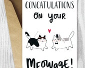 Wedding Card Printables, Marriage Cards, Funny Cat Marriage Card, Congratulations Card Instant Download, Concatulations on Your Meowage