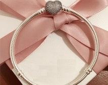 "new Authentic Genuine Pandora Silver PAVE Heart Bracelet Size 20cm  7.9""-590727CZ-20 NEW"