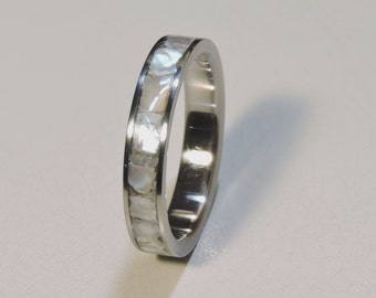 Titanium and Mother of Pearl wedding band, Womens Dainty Titanium Ring, Mother of Pearl inlay,