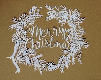 Christmas wreath Papercutting template