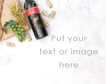 Styled Stock Photography / Wine Bottle / digital background / Wine Corks / Bottle of Wine / Blog Photo / JPEG Image / StockStyle-573