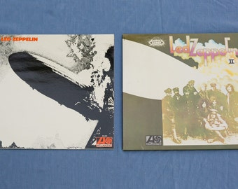 Led Zeppelin and Led Zeppelin II Vinyl Record Albums - French Pressings - Nice Copies - Vintage LP Record - Hard Rock Music