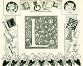 1897 Letter L French Dictionary LarousseAlphabet Chart  scrapbooking home decor wall art 115 years old