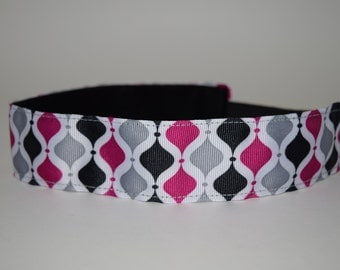 Pink/Gray/Black Hourglass Headband- Sport Headband- 1.5 Headband- Pink- Gray- nonslip headband- no slip headband