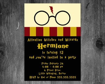 Harry Potter Birthday Invitation Gryffindor Digital File Printable Customized