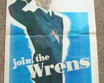 Original WRENS recruitment poster WWII