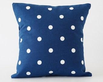 blue 16x16 pillow, blue pillow cover, polka dot pillow, Waverly pillow cover, navy blue pillow, decorative pillow, throw pillow, cushion