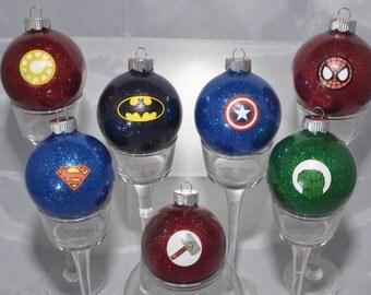 Super Hero Ornaments - Super Hero Glitter Ornaments - Avengers Ornaments - Marvel Comics Ornaments - DC Comics Ornaments - Super Hero Gifts