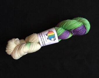 Hand dyed superwash merino /nylon sock yarn - emerging Spring
