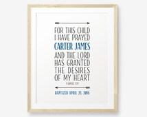 Baptism Printable, For this Child I have Prayed, Baptism Gift, Baptism Prayer, Baby Dedication Gift, Boy, Girl Christening, Arrow Art