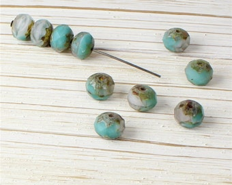 10 (Ten) 9mm x 6mm Faceted Donut Rondelles Turquoise Green Grey Picasso Spacer Czech Glass Beads
