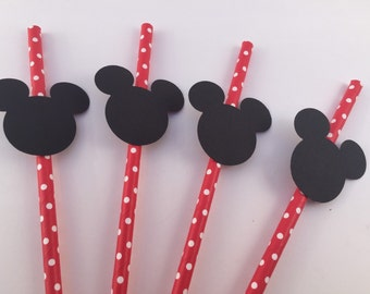 Micky Mouse Paper Straws, Red and White Spotted Paper Straws, Birthday Straws