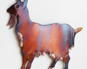Flame painted copper Angora Goat, pin