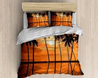 Hawaiian Sunset Duvet Cover - Orange Palm Trees, Black and Orange Bedding, Stunning Bedroom Set - Traditional Ocean Hawaiian Photography ART