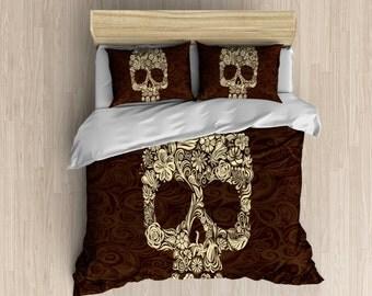 Sugar Skull Bedding - Paisley Skull Duvet Cover, Brown Bedding, Dia De Los Muertas, Day of the Dead Duvet