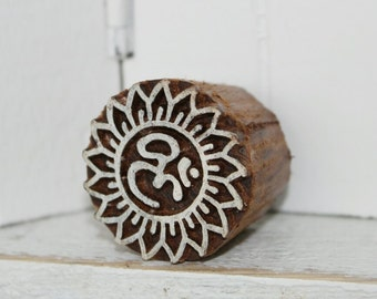 hand-carved Indian wooden temple, ohm small
