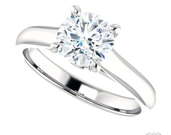 Round Cut Solitaire Engagement Ring - 1.04ctw Forever Brilliant Moissanite & Diamonds in 14k White Gold