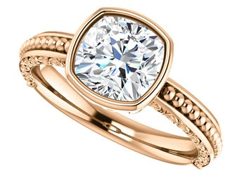 1.70ct Forever Brilliant Moissanite Engagement Ring - Vintage Style Cushion Cut Solitaire Engagement Ring - 14k Rose Gold