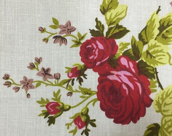White Red Rose Floral Print Poly Cotton Print Fabric - Sold By The Yard -  59""