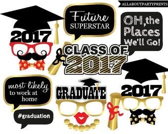Instant Download- Graduation props Printables- Class of 2017 (2016 still included).-digital file