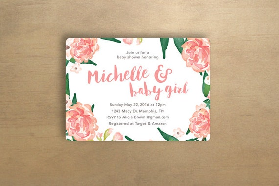 baby shower invitation floral pink digital file only