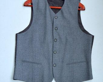 Formal Mens Vest Vintage Grey Vest Classic Wool Vest Gray Waistcoat Steampunk Vest Gentlemen's Vest Steampunk Waistcoat Fitted Medium Size