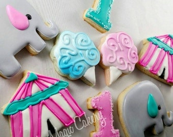 Circus theme birthday cookies