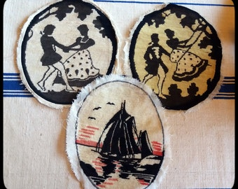 Vintage mid-century handmade needlepoints for crafting, a lot of three