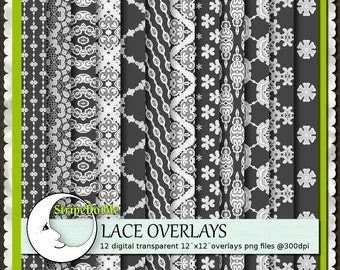 Lace Overlays Digital White Lace Patterns - Commercial Use 00157