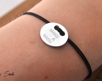 Sterling Silver Circle Bracelet, Make a Wish Bracelet, Wish Bracelet, Drawstring, Circle Bracelet, Circle, Circle Charm, Circle Pendant