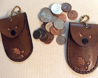 Small leather coin pouch, bead chain coin purse, Oak leafs and acorns on coin purse,key/coin purse, coin purse, oak leafs on coin holder,