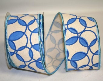 """2.5""""x 10 yds RINGS ECO CANVAS Wired edge Ribbon/ Blue / 92265-1"""