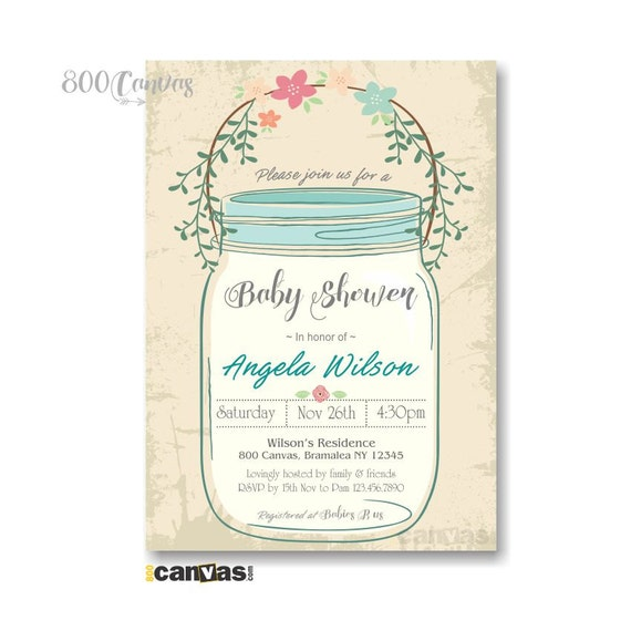 mason jar baby shower invitation rustic baby shower invites mason