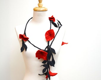 Red and Black Felt Flower Necklace / Felt Flower Scarf