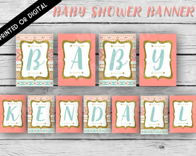 TRIBAL BABY Shower Banner, Aztec Baby Shower, Turquoise, Gold, Baby Shower, Party, Stationery