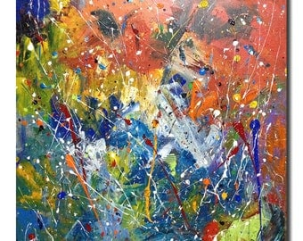 Colors of Freedom -Original  Modern Contemporary Acrylic Abstract Painting Perfect for Living Room - STRETCHED CANVAS 24 X 24(INCHES)OnOffer