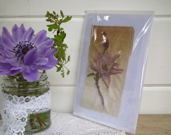 Handmade flower card ~ Handmade card - Greetings card - birthday - Embroidered card - Special Occassion - Thank you card - Blank Card