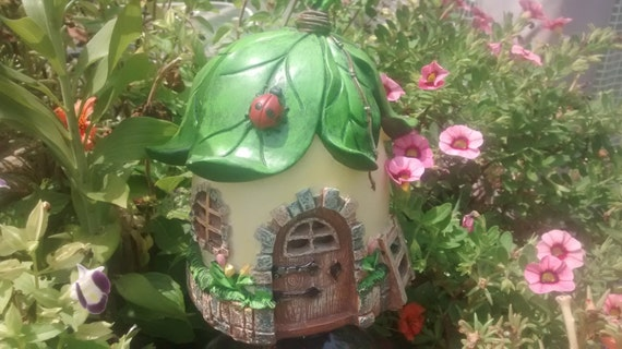 Ladybug Cottage Miniature Fairy Garden House Gnome Home