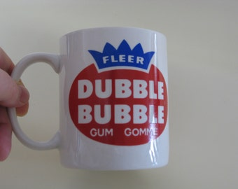 Double Bubble coffee mug, perfect condition, retro collectible.