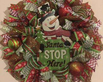 Santa Stops Here Snowman Wreath, Snowman mesh wreath, Winter wreath, Happy Holidays wreath, Christmas mesh wreath, Snowman door decor