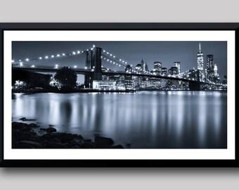 New York Photography, Brooklyn Bridge at Night, NYC Photographic Print, Long Exposure Photography, NYC Photography