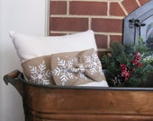 Snowflake Pillow  Burlap Bow Trim  Natural Winter White  Holiday Decor  Winter Accent  Rustic Christmas  Gifts Under 50