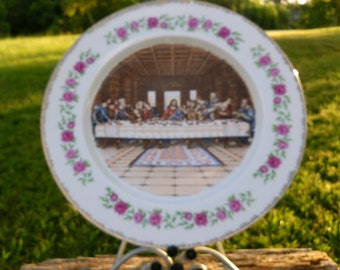 Vintage Jesus Plate Last Supper Plate with Disciples Beautiful Rose Pattern with 24 K Gold Fancy Trims