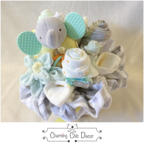 Baby Gift Bouquet New Zealand : New baby gift basket bouquet with elephant gender