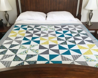 "Modern Quilt - Pinwheel - Hand Quilted - Teal, Gray, Yellow and White - 59""x59"""
